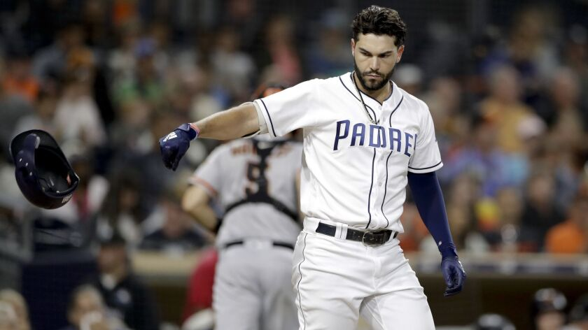 Padres' Eric Hosmer reacts after striking out during a September game at Petco Park.