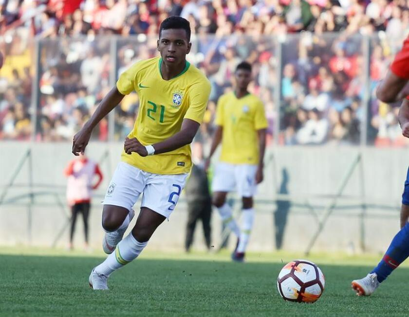 Brazilian striker Rodrygo in action against Chile during the Under-20 soccer friendly played on Oct. 15, 2018, at Estadio Santa Laura in Santiago, Chile. EPA-EFE FILE/Elvis Gonzalez