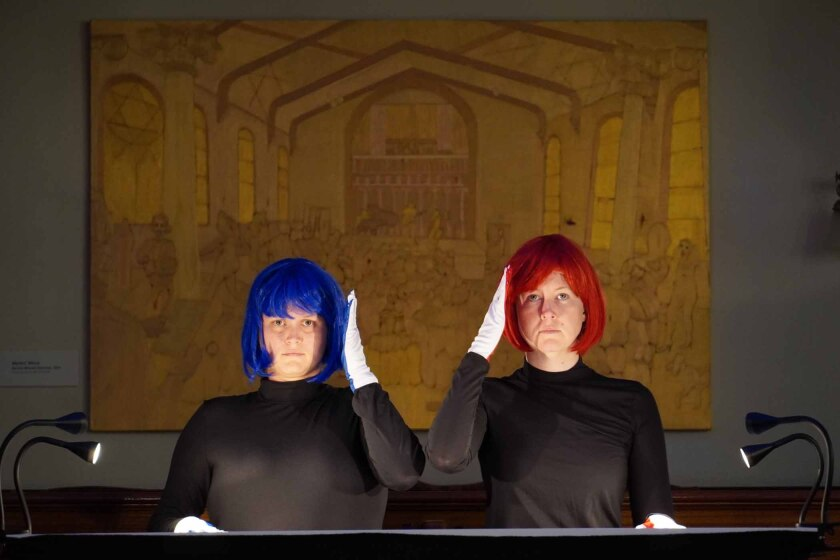 """Adrianne Pope, left, in blue wig, and Linnea Powell, in red wig, performing Jessie Marino's """"Rot Blau."""""""