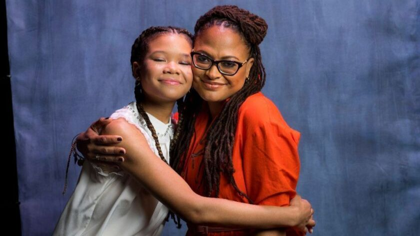 """Director Ava DuVernay, right, and star Storm Reid of """"A Wrinkle in Time."""""""