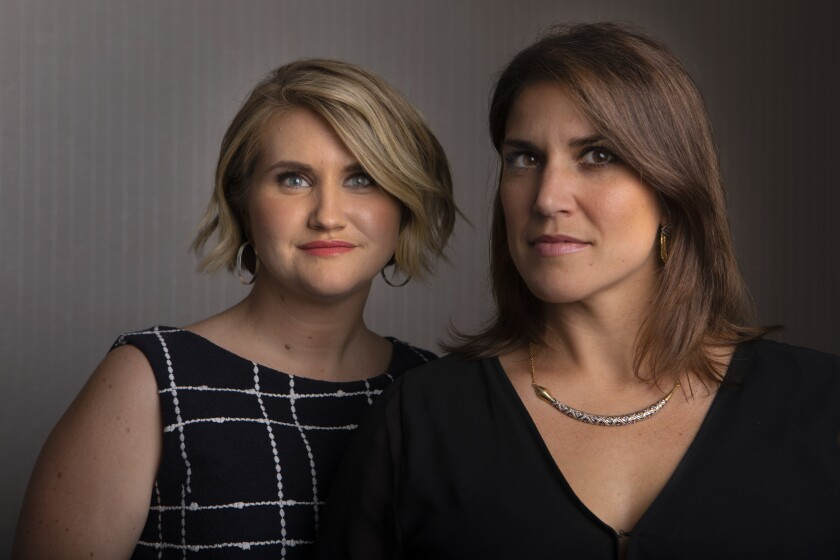 """Actress Jillian Bell, left, with Brittany O'Neill, who inspired the new film """"Brittany Runs a Marathon."""" Bell plays Brittany, an out-of-shape slacker who gets her life back on track by committing to run the famed New York City race."""