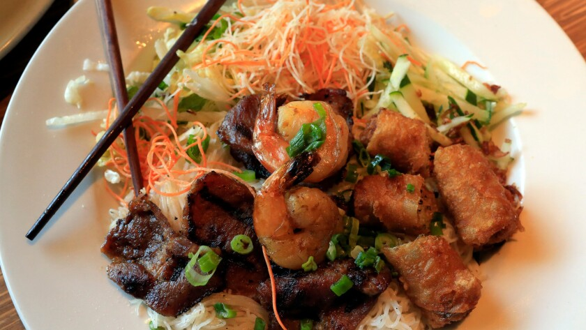 Roasted peanuts flavor the vermicelli at Garden Grove's Brodard Chateau, along with shrimp, pork and fried spring rolls.