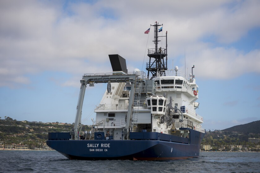 UC San Diego's Scripps Institution of Oceanography's research vessel Sally Ride, during a stop near Scripps Pier.
