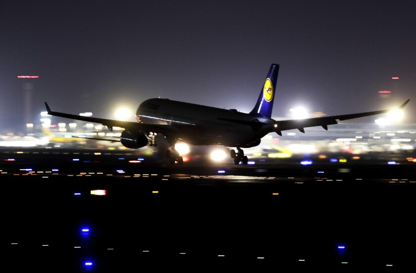 A Lufthansa aircraft lands at the airport in Frankfurt, Germany, Thursday, Nov. 7, 2019. The flight attendants' union Ufo is on strike at Lufthansa for 48 hours. (AP Photo/Michael Probst)