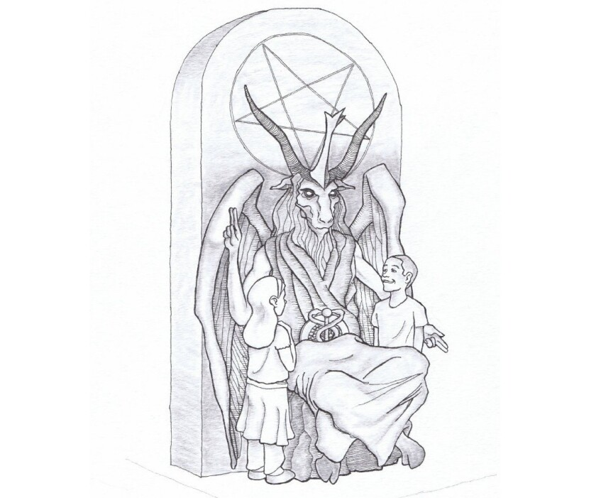 An artist's rendering of a statue the Satanic Temple has proposed for installation at the Oklahoma Capitol.