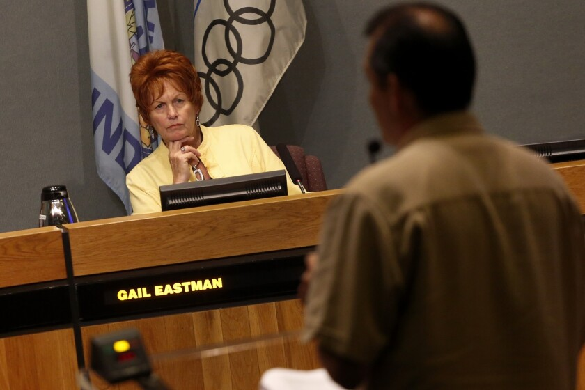 Anaheim City Councilwoman Gail Eastman listens to public comments before the start of a City Council meeting, July 2, 2013. Anaheim residents voted in favor of creating City Council districts Tuesday.