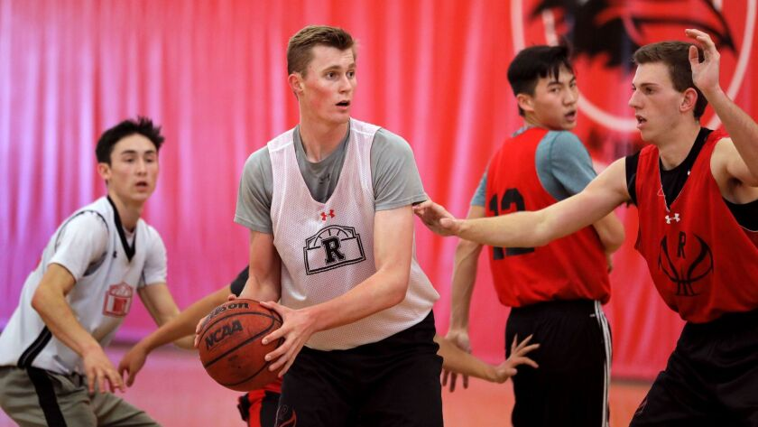 Canyon Crest Academy's MJ Metz (with ball) during practice.