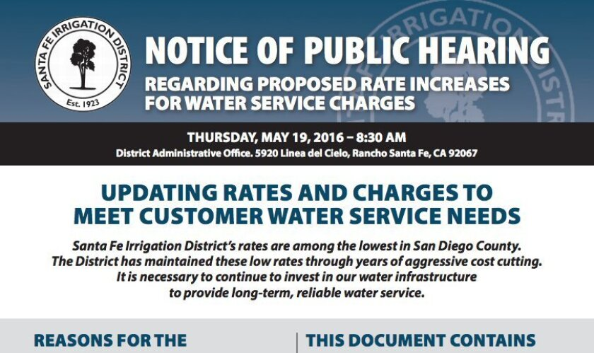 A mailer went out to Santa Fe Irrigation District users last week.