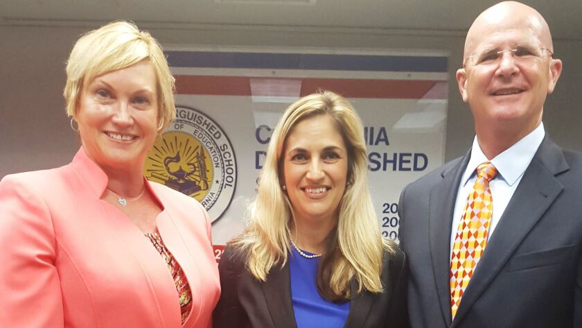 From left, new Ocean View School District Supt. Dr. Carol Hansen, board President Gina Clayton-Tarvi