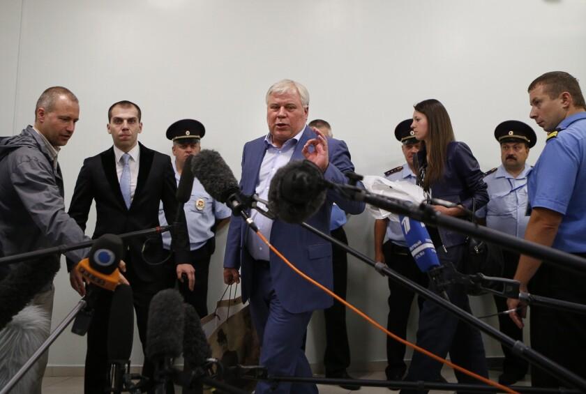Anatoly Kucherena at the Moscow airport.