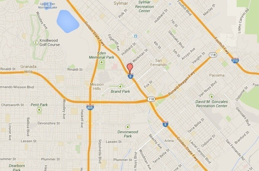Big rig fuel spill on 5 Freeway in Mission Hills closes 2 ramps