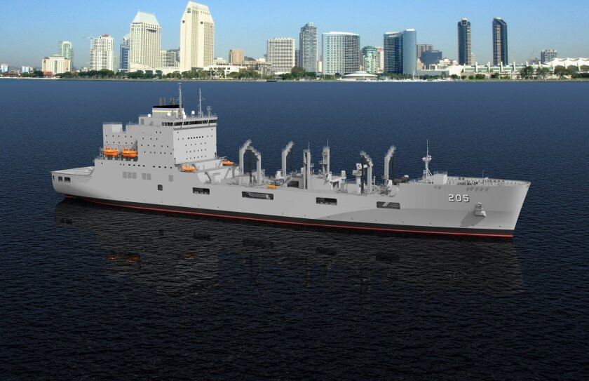 The Navy has hired NASSCO to begin building replacement oiler ships. This is an artist's rendering of the new vessel.
