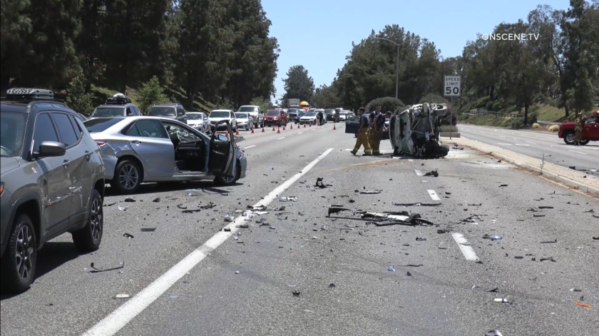 Five people were hurt in a crash on East H Street in Chula Vista on Tuesday.