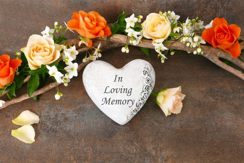 heart with in loving memory and flowers