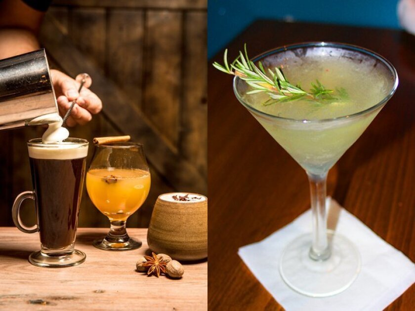 """LEFT: At Cusp Dining & Drinks (located inside Hotel La Jolla), Irish Coffees and Hot Toddies are served during the holidays. RIGHT: Beaumont's Neighborhood Eatery in the Bird Rock area of La Jolla is offering """"The Partridge in a Pear Tree"""" cocktail with Grey Goose Pear vodka, agave, lemon juice, ch"""