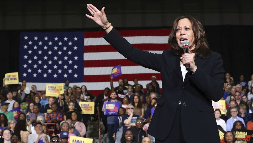 Sen. Kamala Harris (D-Calif.) addresses a campaign rally Sunday at Morehouse College in Atlanta.