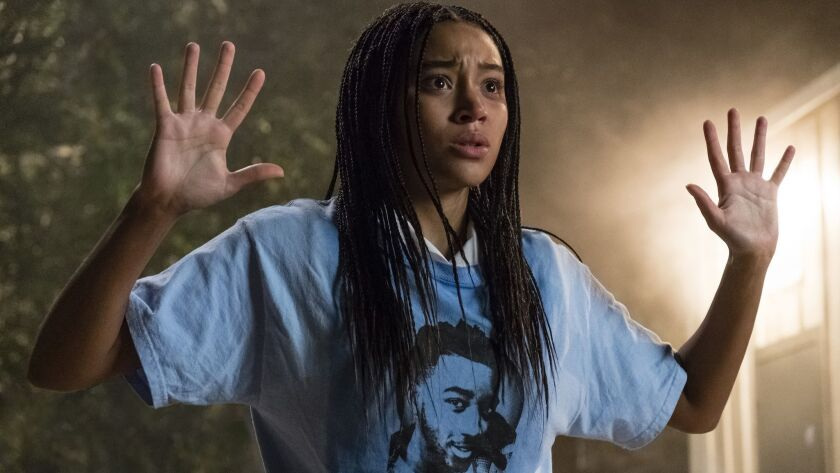 "This image released by 20th Century Fox shows Amandla Stenberg in a scene from ""The Hate U Give."" (E"