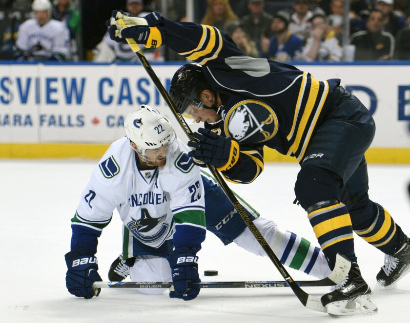 Vancouver Canucks left winger Daniel Sedin (22) battles for the puck with Buffalo Sabres center Jack Eichel, right, during the second period of an NHL hockey game, Saturday Nov. 7, 2015, in Buffalo, N.Y. (AP Photo/Gary Wiepert)