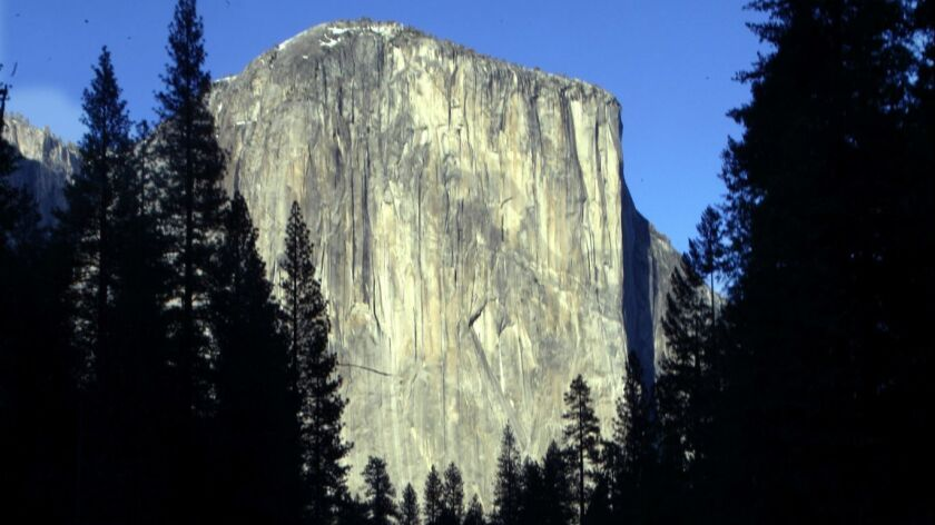 El Capitan in Yosemite National Park. Two climbers fell Saturday while climbing the Freeblast route on the sheer granite rock, the park service said.