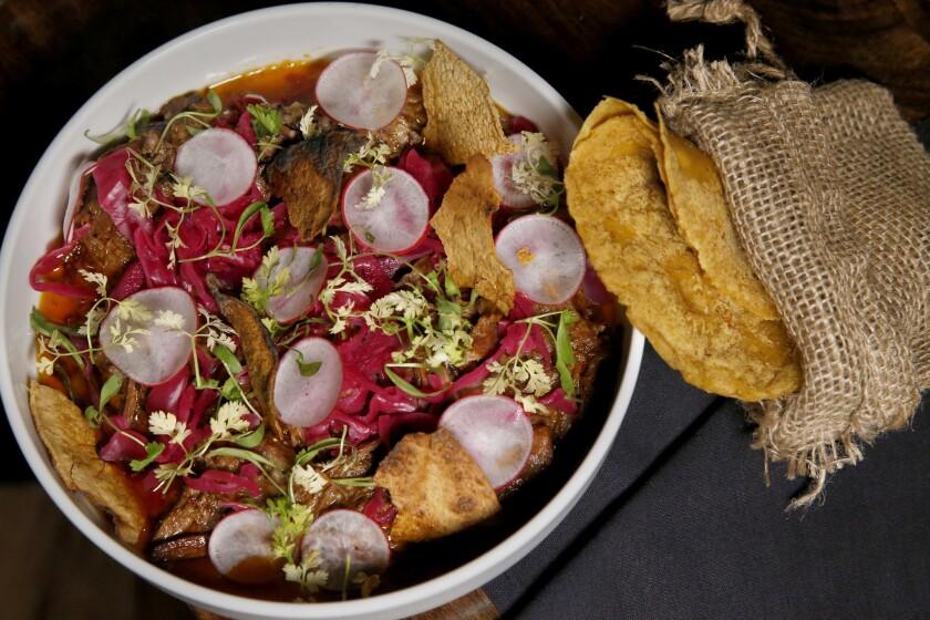 Chef Danny Godinez's lamb barbacoa served with fresh tortillas at his new Pasadena restaurant Maestro