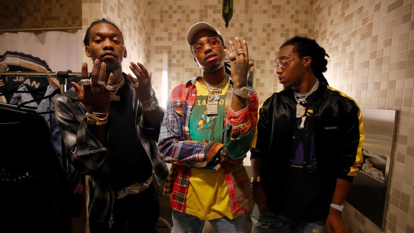 The members of the Atlanta hip-hop trio Migos are, from left, Offset, Quavo and Takeoff. The group will headline the second night of the three-day Wonderfront Music & Arts Fair in San Diego in November.