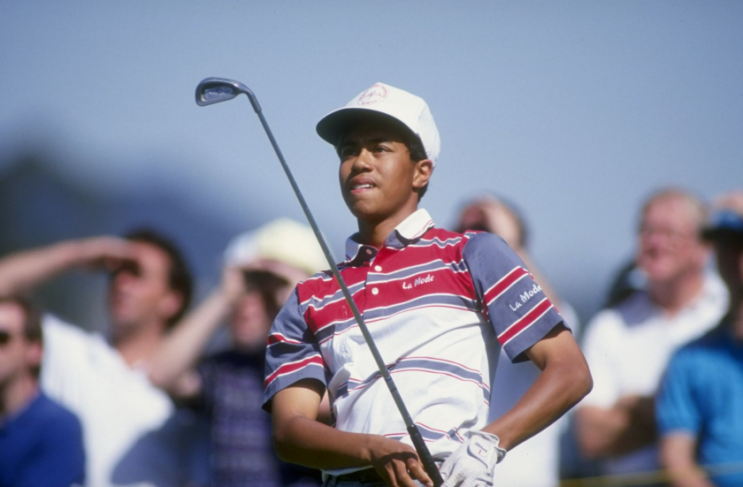 Tiger Woods watches his shot during the 1992 Los Angeles Open at the Riviera Country Club.