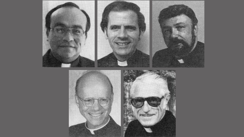 Five of the eight priests: top from left, the Revs. Jose Chavarin, James Patrick Foley and Michael French. Bottom, the Rev. Richard Houck and Msgr. Mark Medaer.