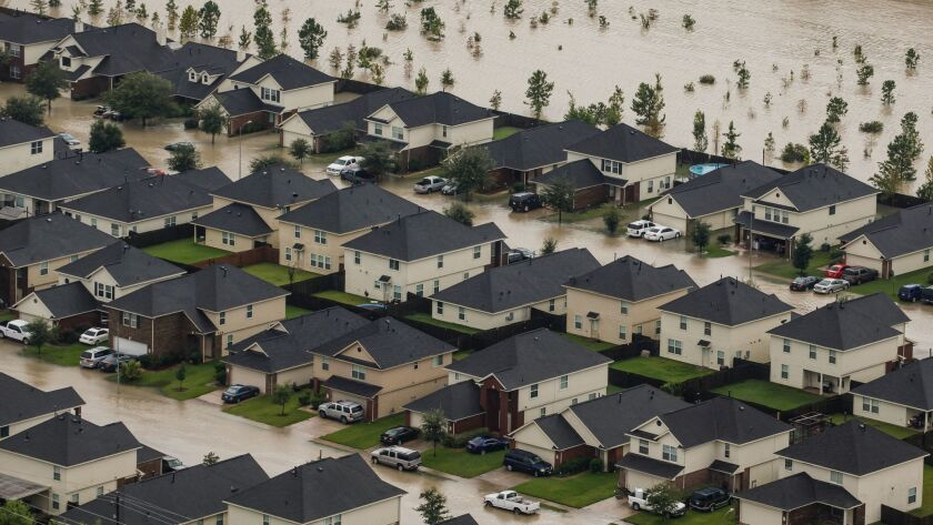A residential neighborhood near Interstate 10 in Houston is flooded after Hurricane Harvey.