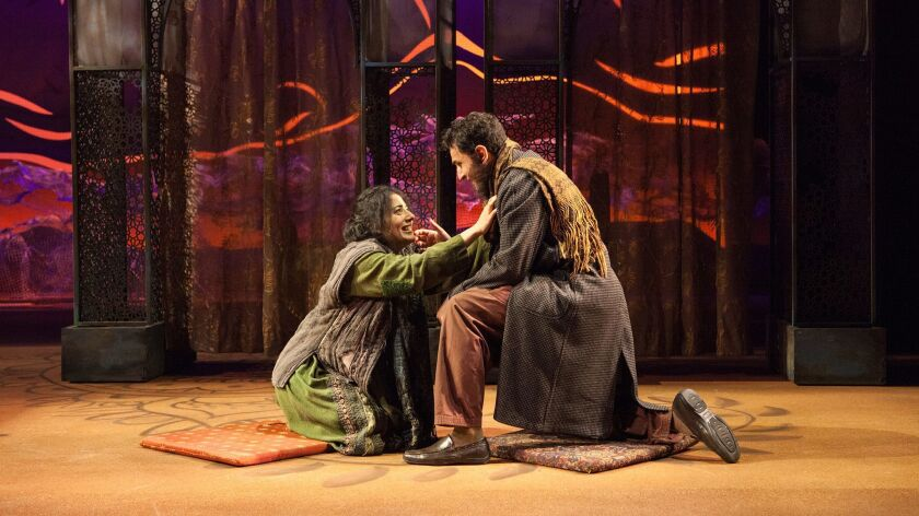 """Nadine Malouf (left) and Antoine Yared in the Old Globe's Theatre's """"A Thousand Splendid Suns."""""""