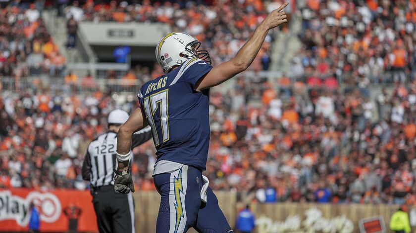 Chargers quarterback Philip Rivers celebrates after hooking up with receiver Tyrell Williams on a 29-yard touchdown pass in the third quarter against the Cleveland Browns on Oct. 14.