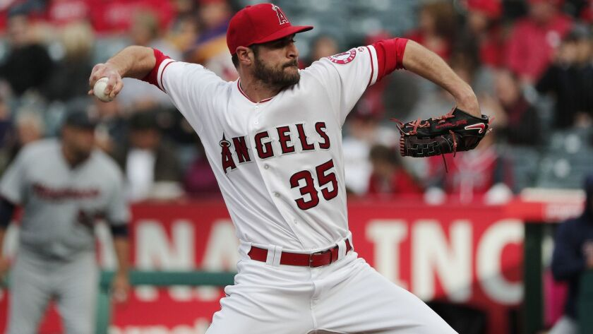 ANAHEIM, CA - MAY 12, 2018: Los Angeles Angels starting pitcher Nick Tropeano (35) throws against t