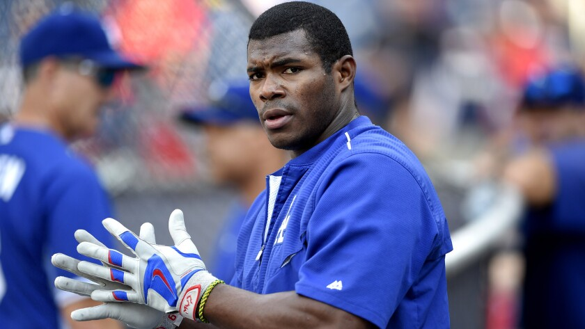 Dodgers outfielder Yasiel Puig continues to have problems with his right hamstring.