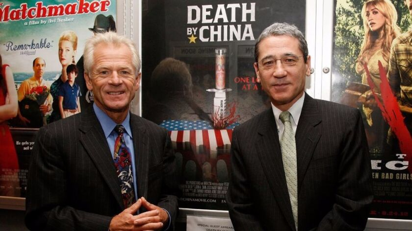"""NEW YORK, NY - AUGUST 24: (L to R) Director Peter Navarro and Gordon Chang attend the """"Death By China"""" screening at the Quad Cinema on August 24, 2012 in New York City."""