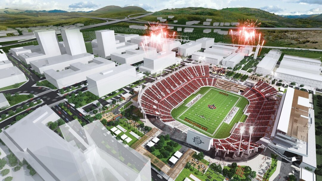 Conceptual rendering of SDSU West proposal. Credit: Carrier Johnson + Culture