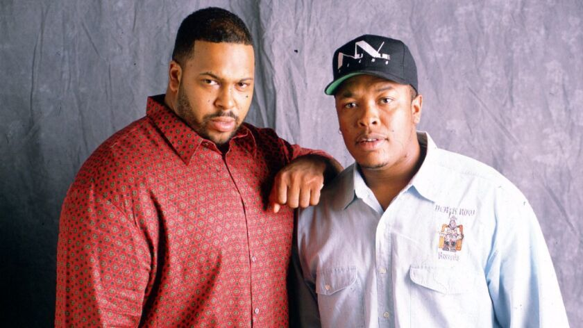 "In a recent court filing, Marion ""Suge"" Knight, left, accused his former business partner, Dr. Dre, of paying to have him killed. The two men are pictured here in 1995."