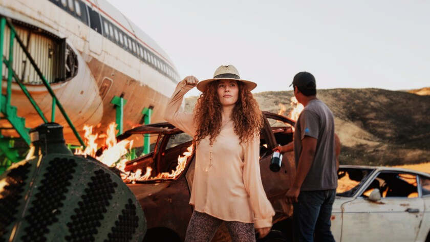"Director Alma Har'el on the set of ""Honey Boy"""