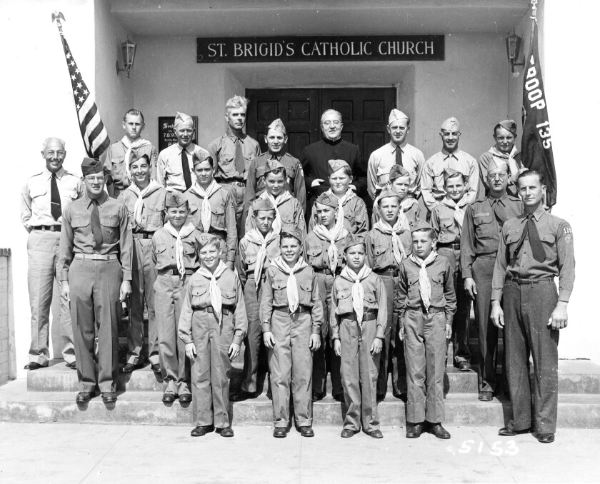 An early group shot of Troop 135 taken on the steps of St. Brigid Church by Howard Rozelle.