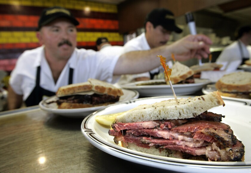A pastrami sandwich on rye bread is served up at Langer's Deli in Los Angeles.