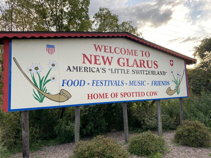 Welcome sign for New Glarus in Wisconsin, a village near where the Ryder Cup will be held in Sheboygan.