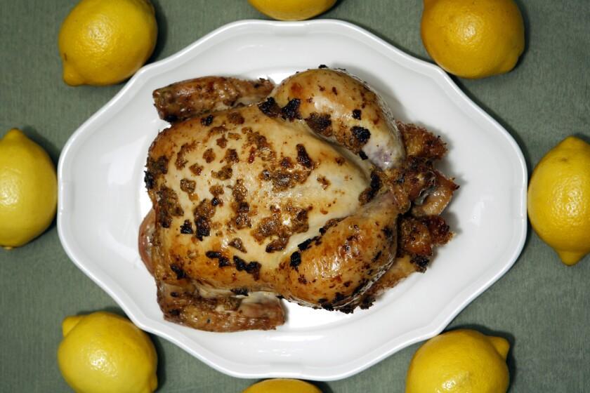 Roast chicken with preserved lemon