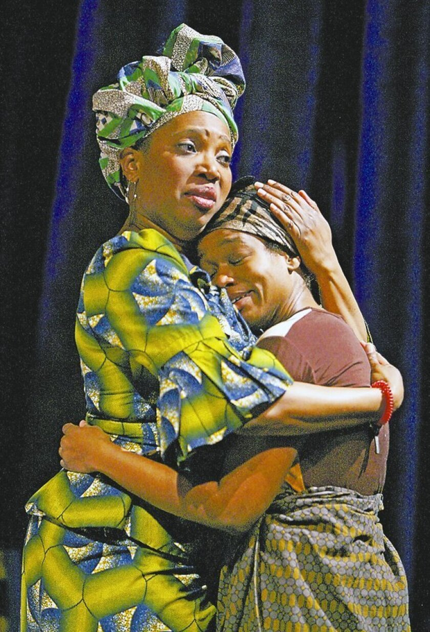 "Saidah Arrika Ekulona (left) plays Mama Nadi and Quincy Tyler Bernstine is Salima in Lynn Nottage's ""Ruined."""