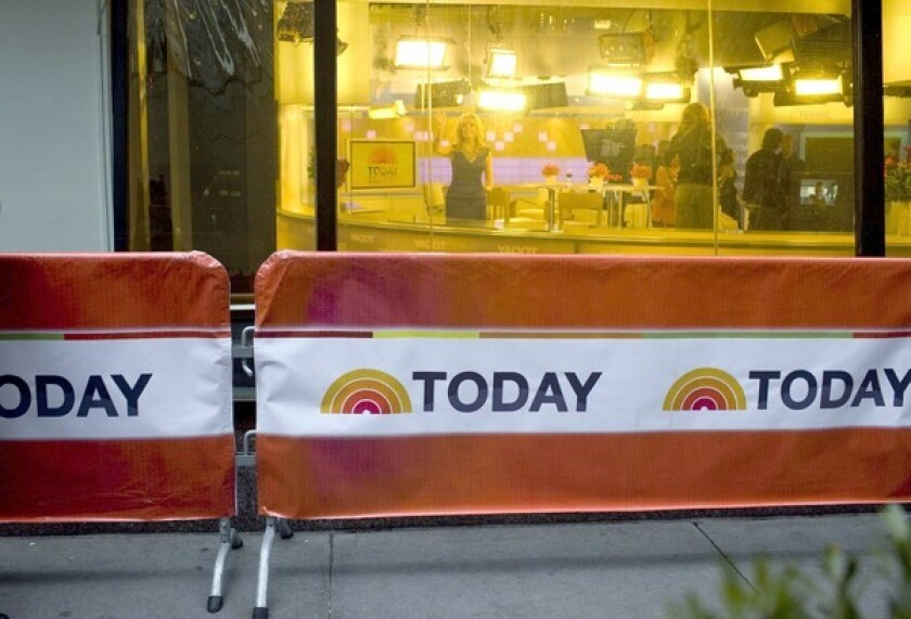 NBC News' street-level studio at Rockefeller Plaza in New York.