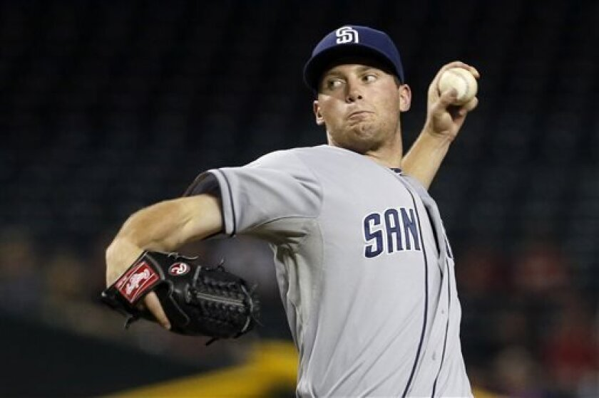 San Diego Padres' Robbie Erlin throws against the Arizona Diamondbacks during the first inning of a baseball game on Wednesday, Aug. 28, 2013, in Phoenix. (AP Photo/Ross D. Franklin)