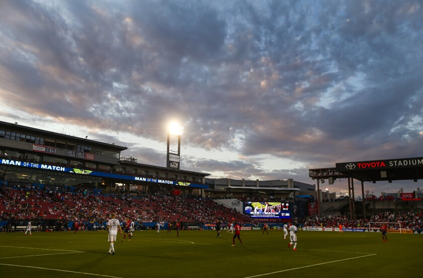 The sun sets during the second half as FC Dallas plays host to the Philadelphia Union on Feb. 29 in Frisco, Texas.