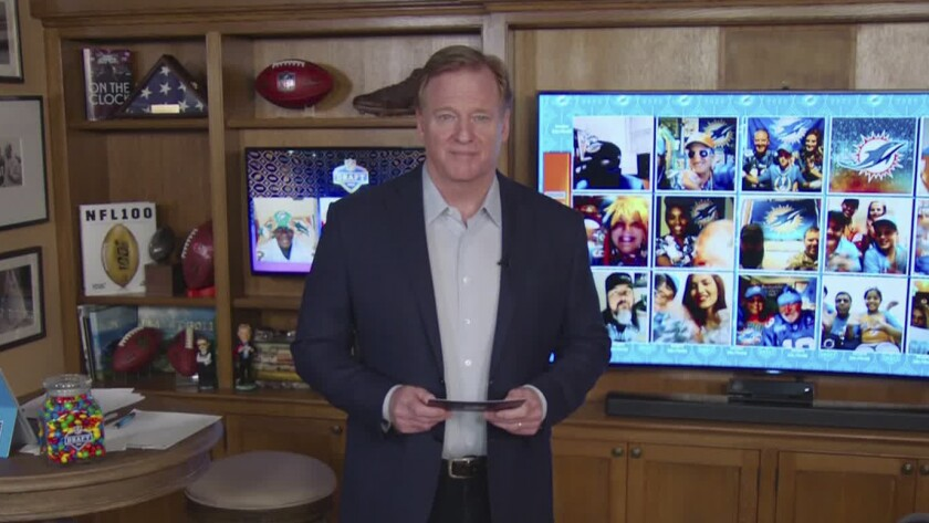 Roger Goodell speaks from his home in Bronxville, N.Y., during the first round of the 2020 NFL draft on April 23.