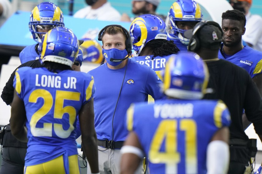 Rams head coach Sean McVay watches his team during the second half against the Miami Dolphins.