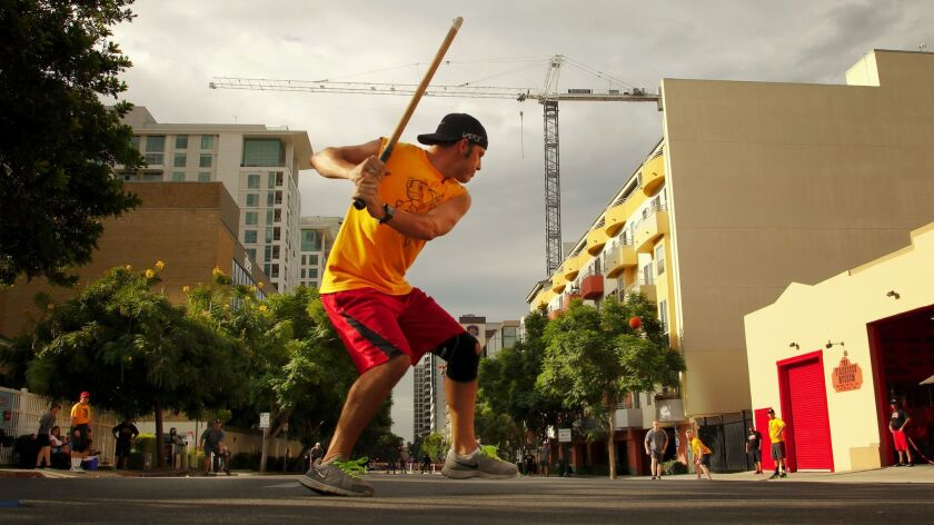 2017 Stickball tournament in Little Italy, San Diego