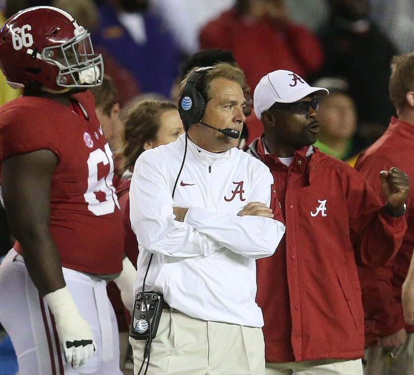 Alabama head coach Nick Saban watches play against LSU in the second half of an NCAA college football game Saturday, Nov. 7, 2015, in Tuscaloosa , Ala. (AP Photo/John Bazemore)