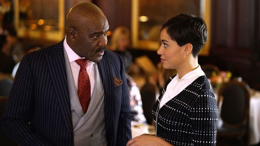 "Delroy Lindo as Adrian Boseman and Cush Jumbo as Lucca Quinn in Sunday's episode of ""The Good Fight."""