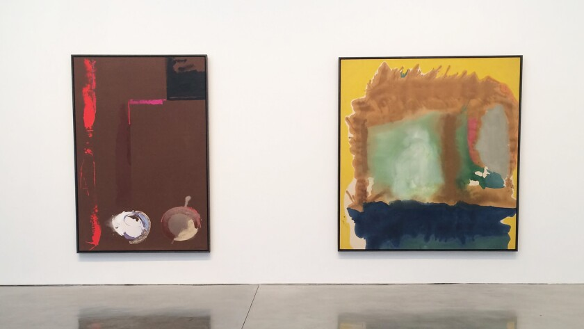 """An installation view, from left, of """"Syzygy,"""" 1987, and """"Milkwood Arcade,"""" 1963, at Gagosian Gallery."""